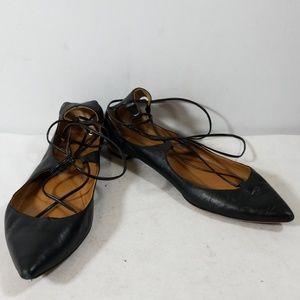 Aquazzura Black Christy Leather Ponited Toe Flats